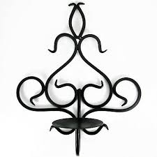 black swirl scroll metal candle holder