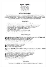 Resume Templates: Police Officer
