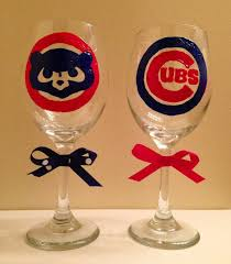 chicago cubs wine gl for lena and corey