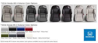 2017 Honda Cr V Color Chart 2016 Honda Hr V Interior And Exterior Color Options