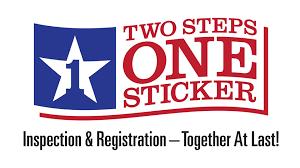 two steps one sticker texas dmv