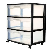 plastic storage drawers. 3-Drawer Wide Cart (1-Pack)-29309001 - The Home Depot Plastic Storage Drawers