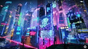 Neon Night City Wallpaper 4K Background
