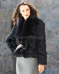 the kylie rabbit fur jacket with fox collar in black