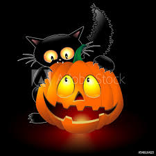 Halloween Cat Cartoon Biting A Pumpkin ...