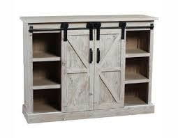 white washed sliding barn door sideboard buffet