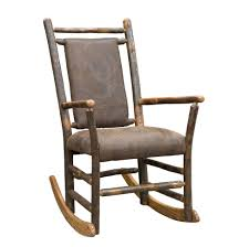 rustic hickory rocking chair with faux brown leather seat and back outdoor chairs nursery cushionss home