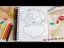 Small Picture How to draw a Cute Puppy Love Heart Easy step by step drawing