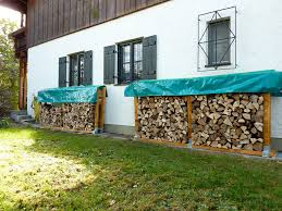 Small And Narrow Side Yard Spaces With Firewood Stacked In DIY Outdoor Rack Storage  Ideas