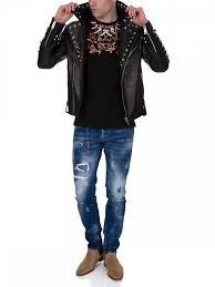 versus versace black leather studded biker jacket 2310ktya mens clothing whole