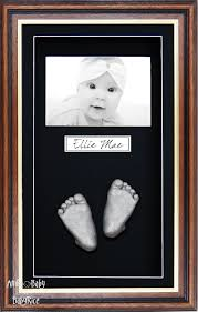 silver handprint footprint casting large mahogany gold frame
