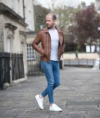 boda skins antique brown biker leather jacket and saint lau sneakers outfit