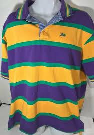 Perlis Xxl 2xl Mardi Gras Stripe Rugby Shirt Cotton Green