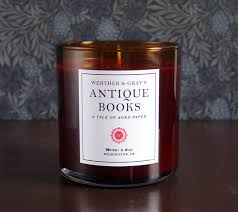 antique books candle 9oz old books scented candle werther gray rust color