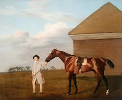 george stubbs firetail with his trainer by the rubbing down house on newmarket