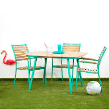 Erik Retro Outdoor Table - GREEN and flamingo