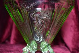art deco green pressed glass