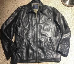 details about nautica mens large soft black lambs leather jacket logo on back neck full zip