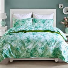 green polyester fabric bedding set king queen size reactive printing leaves plain dyed soft duvet pillow cover home supply comforter bedding sets bedspreads