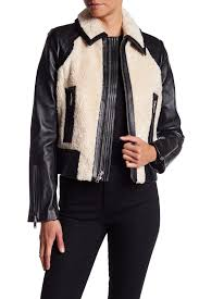 image of 7 for all mankind lamb leather faux fur short jacket