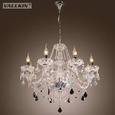 vallkin modern glass crystal chandeliers with 6 candle bulb dining room hotel hallway bar coffee ceiling pendant light lamps fixtures linear chandelier
