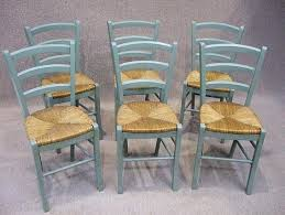 F A Set Of Turquoise French Country Chairs For Dining Table
