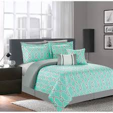 This lovely seven piece comforter set offers style and convenience ... & This lovely seven piece comforter set offers style and convenience with its  geometric design in turquoise Adamdwight.com