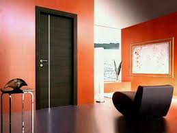 modern painted interior doors. Upscale Dark Brown Varnished Wide Modern Interior Doors With Unique Black Vinyl Couch As Well Orange Painted P