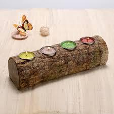 Tea Light Candle Fireplace Log Faux Rustic Tree Bark Finish Holds 4 Tea Light Votive