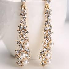 crystal women s pearl rhinestone dangle chandelier earrings bridal gold jewelry