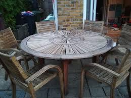 hardwood 5ft 153 cm round garden table 6 chairs