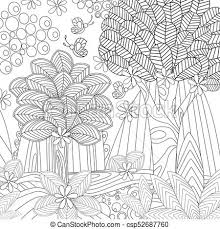 fantasy landscape with erflies for coloring book csp52687760