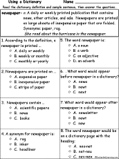 Newspaper Definition Multiple Choice Comprehension Quiz