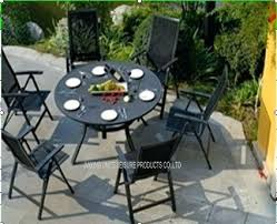 metal patio table with umbrella hole black garden and chairs set furniture sets for hotel remark 30 round metal patio table