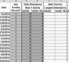 attendance spreadsheet excel church attendance excel sheet