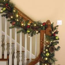 fancy indoor garland with lights your house idea the cordless prelit ornament garland