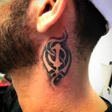 Ink Avenue Gta Khanda Tattoo On The Neck Done By Hans Facebook