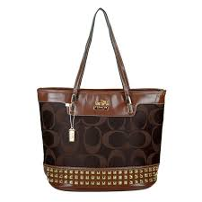 Best Style Coach Tanner Stud Medium Coffee Totes Dkj Outlet YycPd