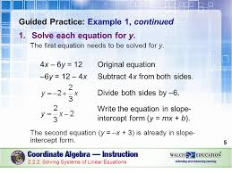 guided practice example 1 continued solve each equation for y