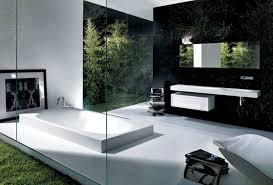 Modern Bathroom Wall Decor Modern Bathroom With Shape Tub White Color And Black Wall Decor