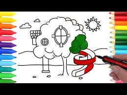 Tree House Coloring Pages Drawing And Art Colours For Kids With