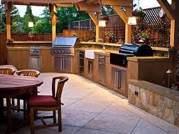 Outdoor Bbq Kitchen Ravishing Backyard Kitchen Design Stone Grill Island Double