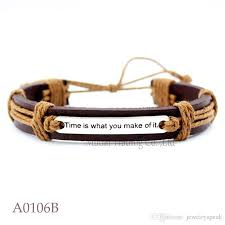 gift time is what you make of it charm adjustable leather bracelet for men women friendship casual wristband jewelry any color baby charm