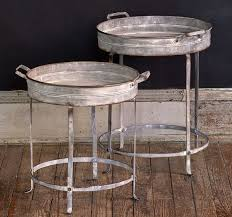 round metal tray tables set of 2