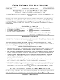 Healthcare Professional Resume Sample Nurse Trainer Resume Sample Monster Com
