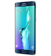samsung galaxy s6 edge plus. angled side view of black sapphire galaxy s6 edge plus from right samsung u