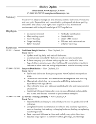 Truck Driver Sample Resume Free Resume Templates 2018