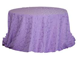 round table with purple jacquard cover
