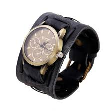 popular mens leather cuff watch buy cheap mens leather cuff watch new style retro punk rock brown big wide leather bracelet cuff men watch cool splendid summer