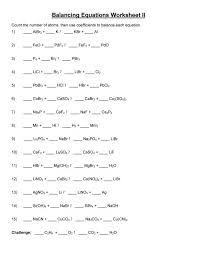 49 balancing chemical equations worksheets with answe